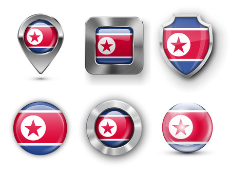 korea flag: North Korea Metal and Glass Flag Badges, Buttons, Map marker pin and Shields. Vector illustrations Illustration