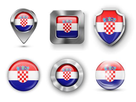 bandera de croacia: Croacia metal y cristal de la bandera insignias, botones, pines Mapa marcador y Shields. Ilustraciones del vector Vectores