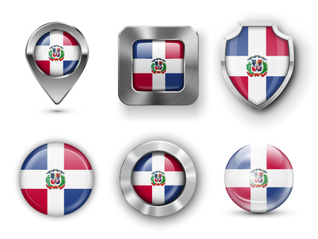 dominican republic: Dominican Republic Metal and Glass Flag Badges, Buttons, Map marker pin and Shields. Vector illustrations Illustration
