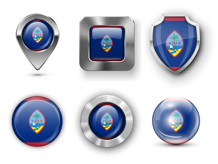 guam: Guam Metal and Glass Flag Badges, Buttons, Map marker pin and Shields. Vector illustrations