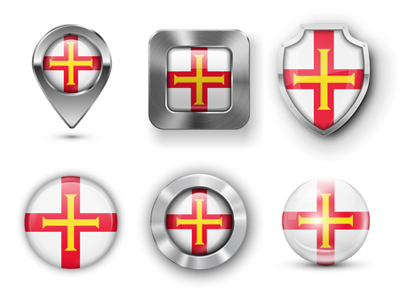 guernsey: Guernsey Metal and Glass Flag Badges, Buttons, Map marker pin and Shields. Vector illustrations