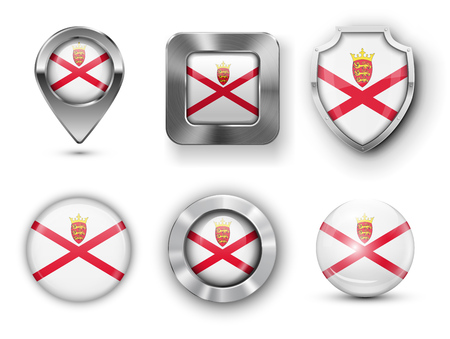bailiwick: Jersey Metal and Glass Flag Badges, Buttons, Map marker pin and Shields. Vector illustrations Illustration