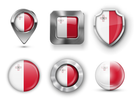 map malta: Malta Metal and Glass Flag Badges, Buttons, Map marker pin and Shields. Vector illustrations