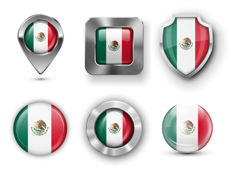 flag icons: Mexico Metal and Glass Flag Badges, Buttons, Map marker pin and Shields. Vector illustrations