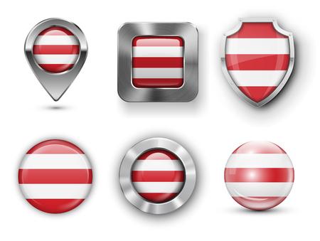 Badges en métal et en verre de Bora Bora, boutons, goupille de repère de carte et boucliers. Illustrations vectorielles