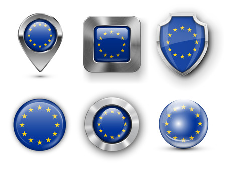 European Union and Europe Metal and Glass Flag Badges, Buttons, Map marker pin and Shields. Vector illustrations