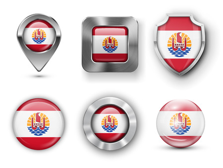 French Polynesia Metal and Glass Flag Badges, Buttons, Map marker pin and Shields. Vector illustrations