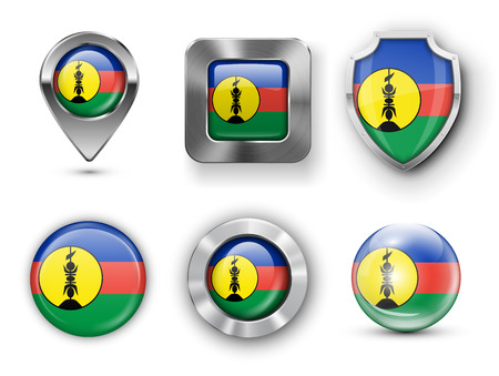 new caledonia: New Caledonia Metal and Glass Flag Badges, Buttons, Map marker pin and Shields. Vector illustrations