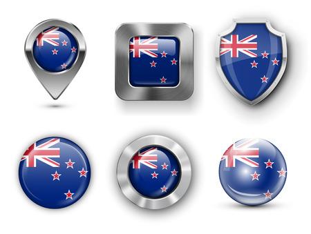 bandera de nueva zelanda: Nueva Zelanda metal y cristal de la bandera insignias, botones, pines Mapa marcador y Shields. Ilustraciones del vector