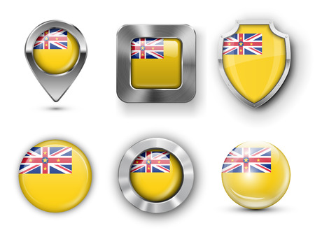 niue: Niue Metal and Glass Flag Badges, Buttons, Map marker pin and Shields. Vector illustrations