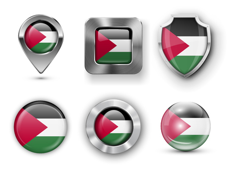 gaza: Gaza Strip Metal and Glass Flag Badges, Buttons, Map marker pin and Shields. Vector illustrations