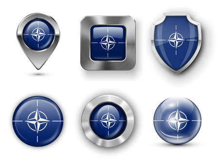 nato: NATO Metal and Glass Flag Badges, Buttons, Map marker pin and Shields. Vector illustrations