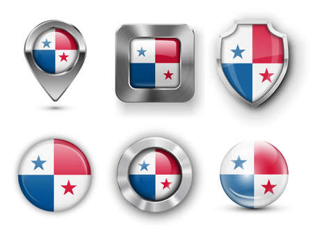 bandera panama: Panam� metal y el cristal de la bandera insignias, botones, pines Mapa marcador y Shields. Ilustraciones del vector Vectores