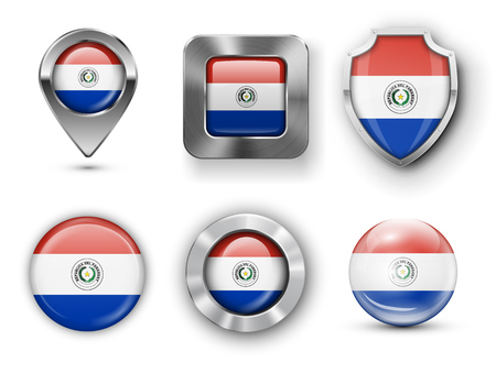 paraguay: Paraguay Metal and Glass Flag Badges, Buttons, Map marker pin and Shields. Vector illustrations Illustration