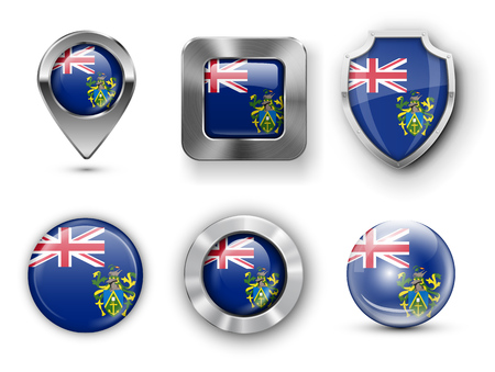 pitcairn: Pitcairn Islands Metal and Glass Flag Badges, Buttons, Map marker pin and Shields. Vector illustrations