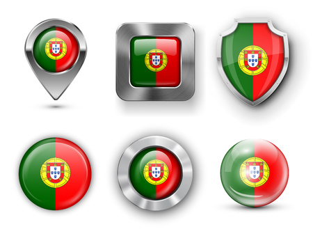 azores: Portugal Metal and Glass Flag Badges, Buttons, Map marker pin and Shields. Vector illustrations