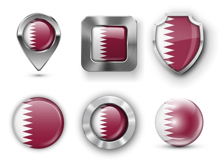 turista: Qatar Metal and Glass Flag Badges, Buttons, Map marker pin and Shields. Vector illustrations