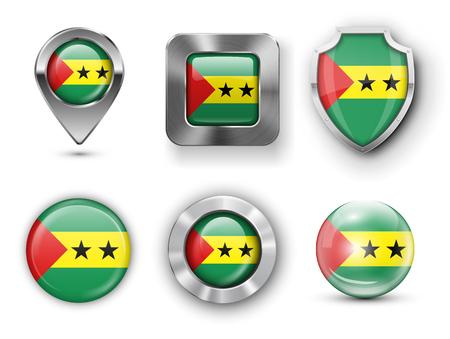principe: Santo Tomé y Príncipe de metal y cristal de la bandera insignias, botones, pines Mapa marcador y Shields. Ilustraciones del vector