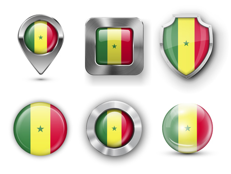 dakar: Senegal Metal and Glass Flag Badges, Buttons, Map marker pin and Shields. Vector illustrations Illustration