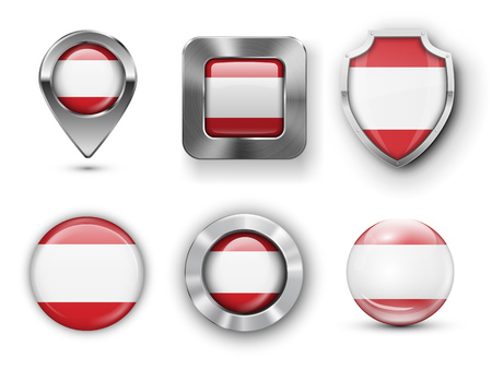 tahiti: Tahiti Metal and Glass Flag Badges, Buttons, Map marker pin and Shields. Vector illustrations
