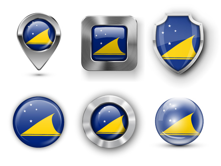 tokelau: Tokelau Metal and Glass Flag Badges, Buttons, Map marker pin and Shields. Vector illustrations