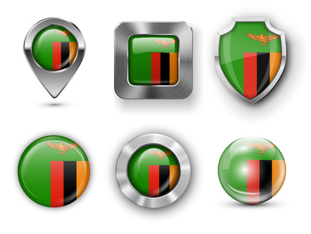 zambia: Zambia Metal and Glass Flag Badges, Buttons, Map marker pin and Shields. Vector illustrations