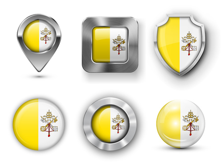 vatican city: Vatican City Metal and Glass Flag Badges, Buttons, Map marker pin and Shields. Vector illustrations Illustration