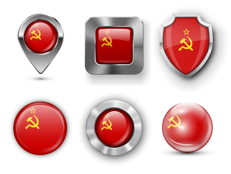 ussr: USSR Metal and Glass Flag Badges, Buttons, Map marker pin and Shields. Vector illustrations
