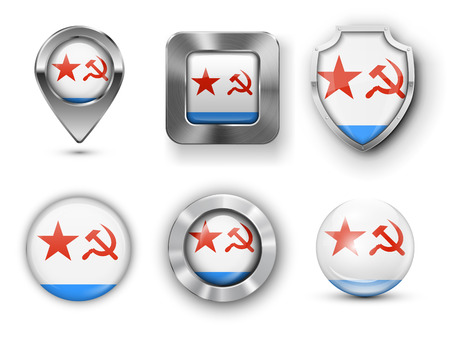 soviet flag: Soviet Union Naval Flag Metal and Glass Badges, Buttons, Map marker pin and Shields. Vector illustrations