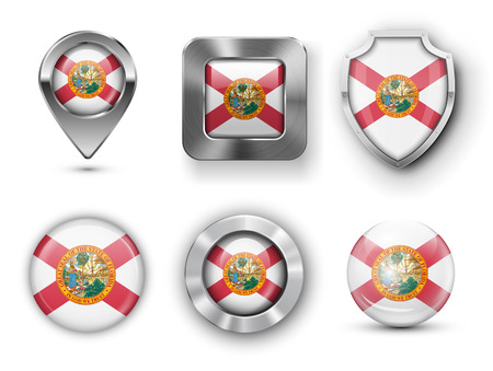 florida state: Florida USA State Metal and Glass Flag Badges,  Map marker pin and Shields. illustrations Illustration