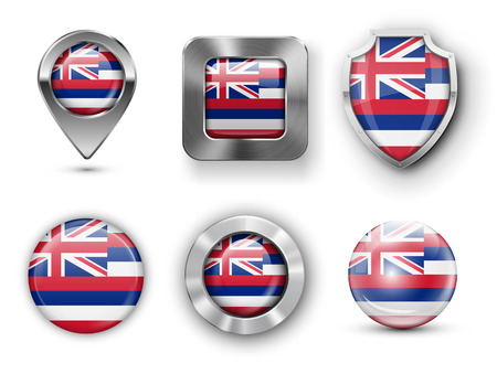 find us: Hawaii USA State Metal and Glass Flag Badges,  Map marker pin and Shields. illustrations Illustration