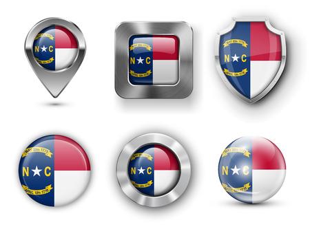 north carolina: North Carolina USA State Metal and Glass Flag Badges,  Map marker pin and Shields. illustrations