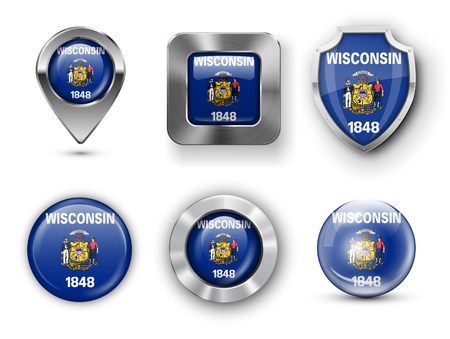 wisconsin flag: Wisconsin USA State Metal and Glass Flag Badges,  Map marker pin and Shields. illustrations