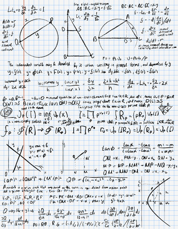 mathematical proof: Mathematical trigonometry algebra formulas on  exercise book page Illustration