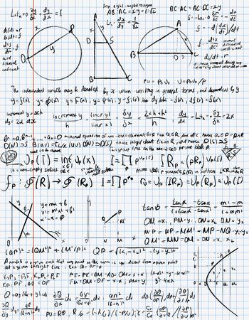 algebra: Mathematical trigonometry algebra formulas on  exercise book page Illustration