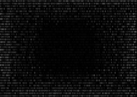listing: Round gradient fall off binary code screen listing table cypher, black, with space for text in center. Illustration