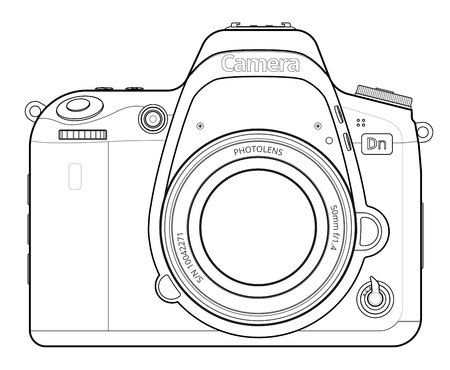 slr camera: Front view of SLR Camera Line Art