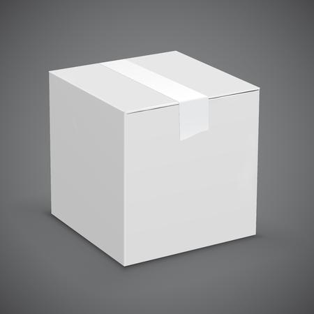 Nouvelle boîte de carton blanc scotché en place. Vector illustration set Vecteurs