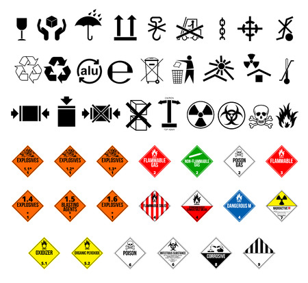 solids: Cargo and package symbols and  danger hazard cargo material symbols. Vector EPS8 set