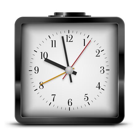 quartz: Vector Quartz Alarm Clock  Design, Black Colored. Vector illustration