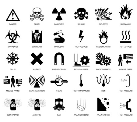 hazards: Set of danger restricted and hazards signs icon,  vector EPS8 illustration Illustration