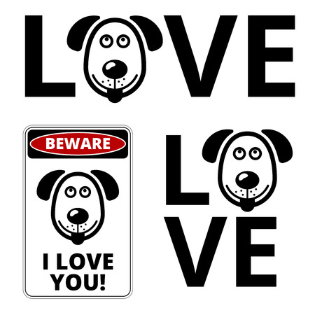 humorous: Friendly Dogs  Signs Humorous Comic Labels and Plates Collection. Vector Illustration