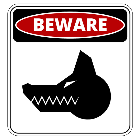 guard duty: Angry Dog Red Danger Sign. Vector Illustration EPS8