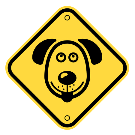 caution: Friendly Dogs  Signs Humorous Comic Labels and Plates Collection. Vector Illustration