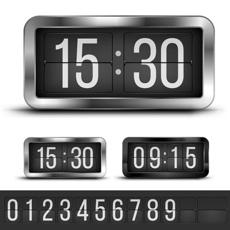 blacks: Analog flip clocks silver and blacks retro designs with numbers template, vector illustration