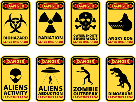 sarcastic: Vector warning humorous signs with sci-fi and rare hazards - vector set