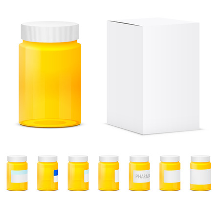 medicine bottles: Many yellow plastic medicine bottles. Realistic vector illustration Illustration