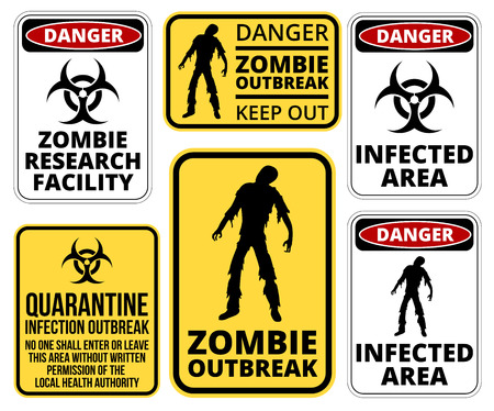 surviving: Zombie Crossing Infected  Apocalypse Signs, Symbols and Billboards Vector eps8