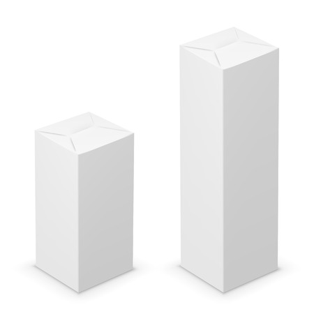 ebox: Vector white tall folded box design template. Illustration on white background