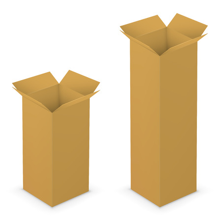 box open: Realistic tall brown vector opened blank boxes. Vector illustration